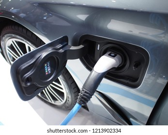 Electric car is charging at charging station at Bangkok International Motor Show 2018 Thailand from 28 Mar 2018 to 8 Apr 2018.