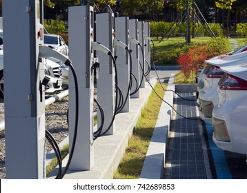 Electric car charging station in Korea