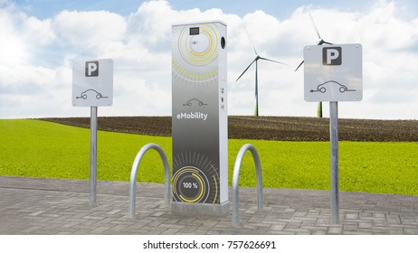 Electric car charging station with landscape and power turbines in background - eMobility parking