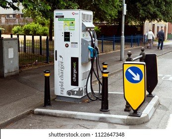 Electric Car charging station, Poole, Dorset, England, June 2018
