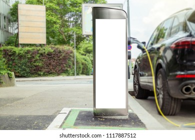 Electric car charging station with white display mock up