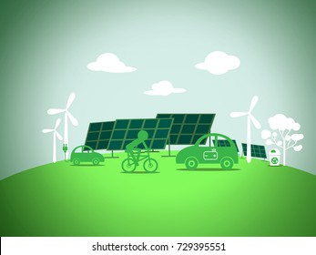 electric car with clean energy on green background, ecology and environment concept
