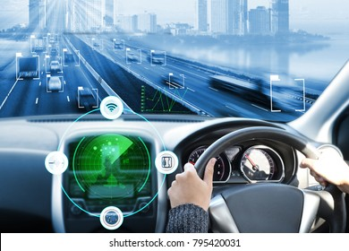 electric car or intelligent car.Heads up display(HUD).futuristic vehicle and graphical user interface(GUI).self-driving mode , autonomous car, vehicle running self driving mode and a woman driver