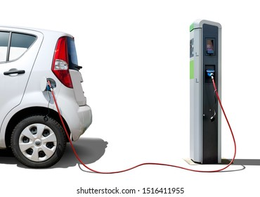 Electric car on charging station  isolated on white