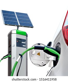 Electric car on charging station with solar panels isolated on white