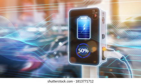 Electric car power charging station booth futuristic modern technology loading electricity energy, power supply battery charge energy electro mobility eco environment-friendly plugged into car vehicle