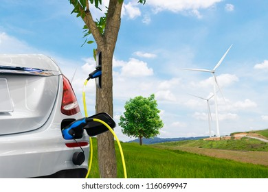 Electric car renewable clean energy the future tree environment