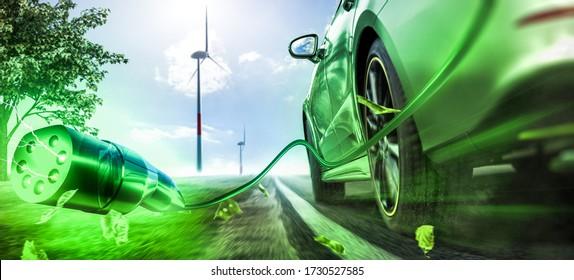 Electric car  transportation future (3D Rendering)