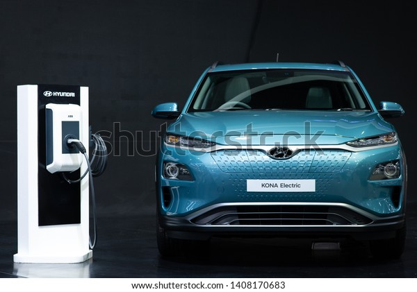 Electric cars brand Hyundai on display at the event , The 35th Thailand International Motor Expo 2018.