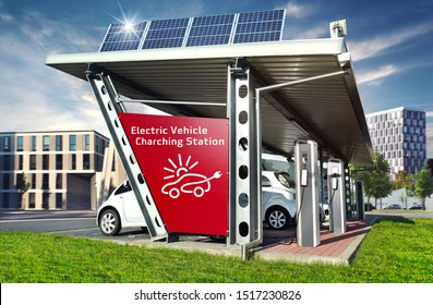 Electric cars on solar Charging Station with solar energy and city buildings