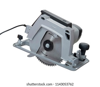 electric circular saw on a white