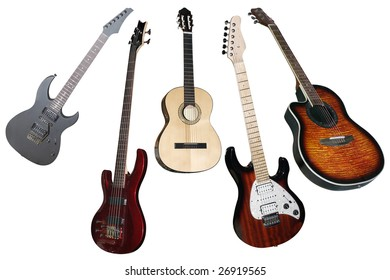 an electric and classical guitars under the white background
