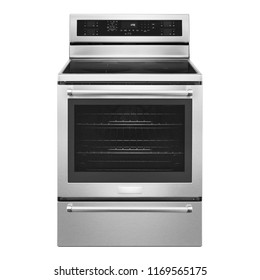 Electric Convection Range with Warming Drawer Isolated on White. Front View of Stainless Steel Induction Range Cooker. Kitchen Stove with Four Burner Induction Cooktop. Kitchen and Domestic Appliances