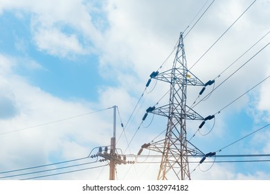 Electric current.High voltage post.Sustainable Energy Technology Asia.Clean energy from nature.concept of electrical connection to the city. Electric Power Business