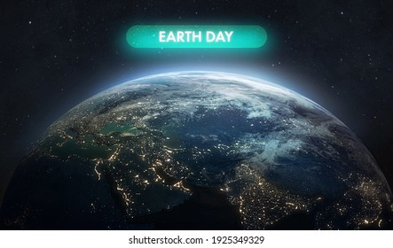 Electric Day word near Earth planet. Earth hour event. Protection of environment. Elements of this image furnished by NASA