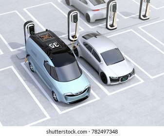 Electric delivery minivan and silver sedan charging at charging station. 3D rendering image.