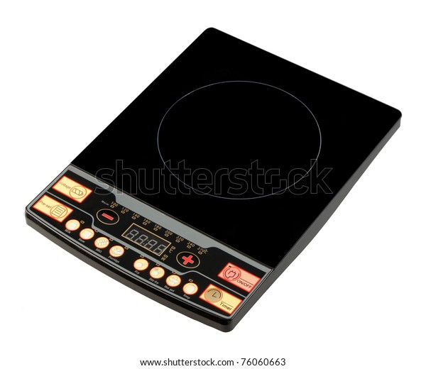 Electric Digital Display Stove Isolated On Stock Photo (Edit