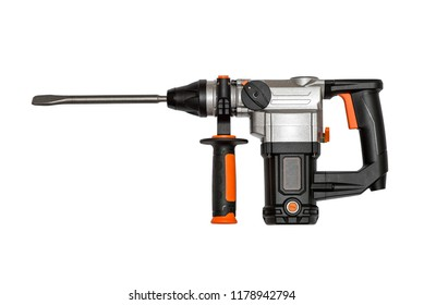 Electric drill with handle isolated on white background. Perforated drill isolated on white
