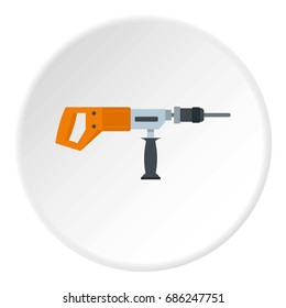 Electric drill, perforator icon in flat circle isolated  illustration for web