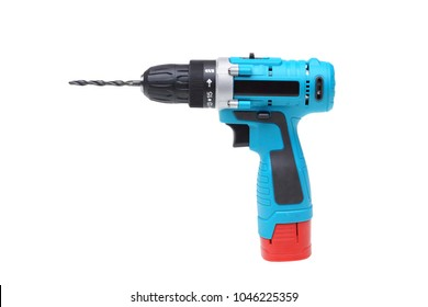 Electric drilling machine isolated on white