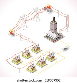Electric Energy Distribution Chain Infographic Concept. Isometric 3d Electricity Grid Elements Power Grid Powerhouse Providing Electricity Supply to the City Buildings and Houses