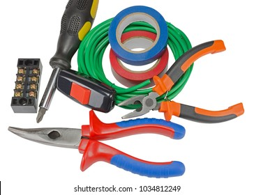 Electric equipment on white background