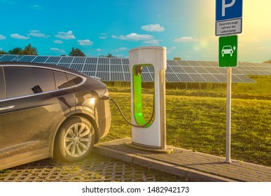 electric filling station charging station  electric car solar system
