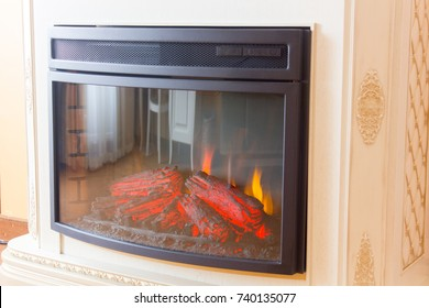 Electric fireplace in room