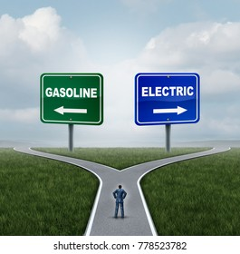 Electric or gasoline energy choice concept as a confused person on a crossroad deciding between gas fuel power or battery power with 3D illustration elements.