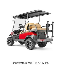 Electric Golf Cart Isolated on White Background. Back View of Four Passenger Red Car for a Golf Course. Advanced 4 Seater Off-Road EV Electric Vehicle. Personal Transport. 3D Rendering