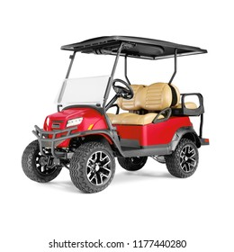 Electric Golf Cart Isolated on White Background. Front View of Four Passenger Red Car for a Golf Course. Advanced 4 Seater Off-Road EV Electric Vehicle. Personal Transport. 3D Rendering