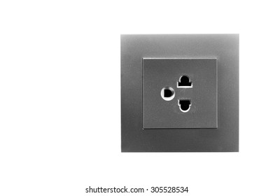 Electric grey Wall Socket with Wall Plate Isolated on White Background