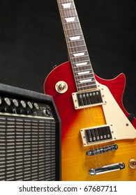 electric guitar with amplifier, for music and entertainment themes