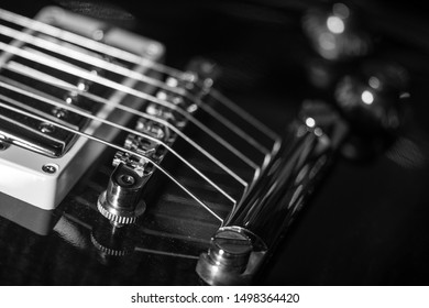 electric guitar, black & white, close-up