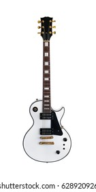 Electric guitar the classic shape Les Paul on white background.