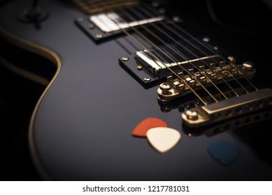 Electric guitar closeup, music background