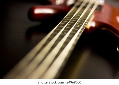 Electric guitar with depth of field. Bass guitar.