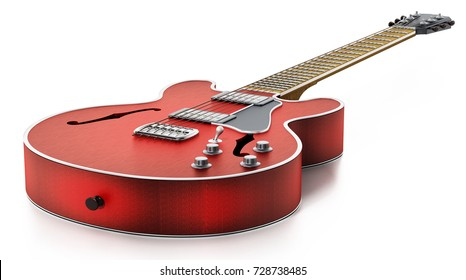 Electric guitar with flaming red wooden finish. 3D illustration.