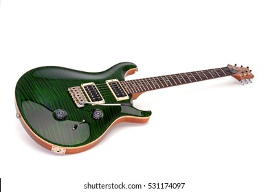 Electric guitar, green flamed maple top, white background