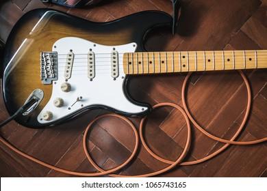Electric Guitar on wooden floor