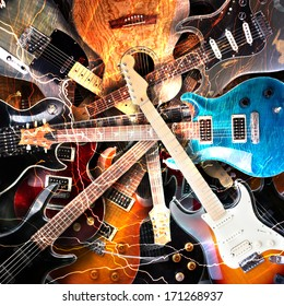 Elektrische Gitarre, umgeben von Blitzen