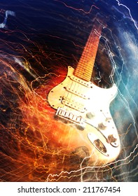 Electric guitar surrounded with the lightnings