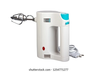 Electric hand mixer is a kitchen appliance intended for mixing isolated on white background