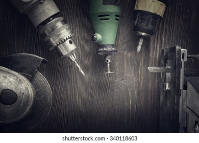 Electric hand tools (screwdriver Drill Saw jigsaw jointer) photo processing: instagram