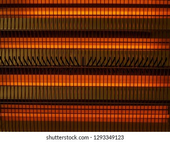 Electric heater. Extreme Close-Up
