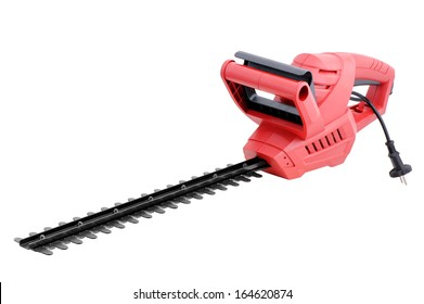 Electric  hedge trimmer o,n white background.
