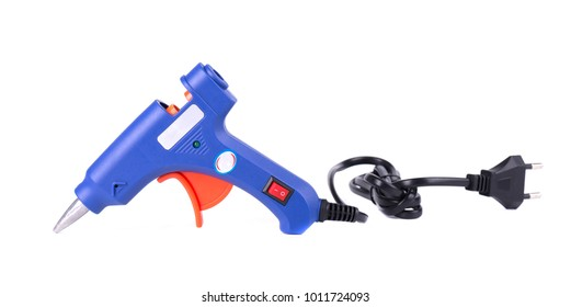 Electric hot glue gun isolated on white