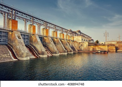 electric hydro station on the river