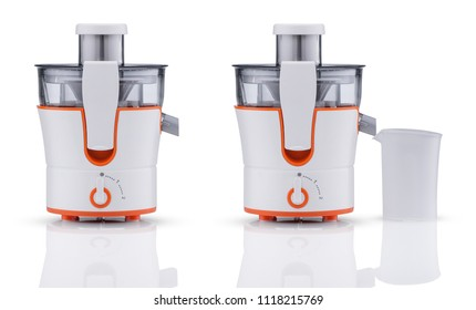 electric juicer with container on white background with reflection. kitchen appliances
