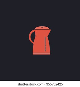 Electric kettle. Color flat icon on black background